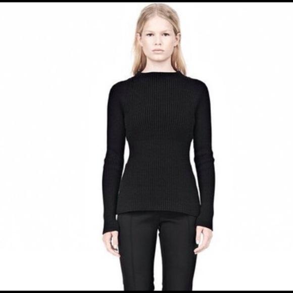 9f366f5321 T by Alexander wang black knit peplum top sweater.  M 56085569b5643efbe900e903