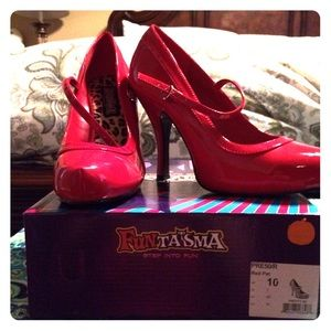 Funtasma Shoes - Red Patent Leather Mary Jane Heels