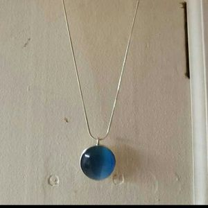 Teal half sphere necklace