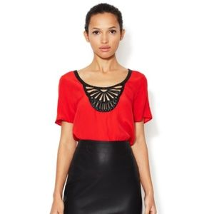 Anthropologie Tops - PLENTY by Tracy Reese Red crepe top w leather trim