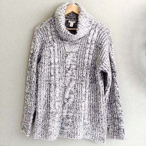 Forever 21 Sweaters - Gray Cable Cowl Neck Loose Knit Sweater