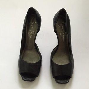 Jessica Simpson peep toe black leather heels.
