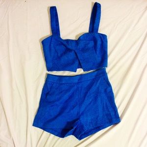 Blue textured two piece set