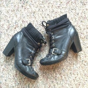 Nine West black leather lace up booties
