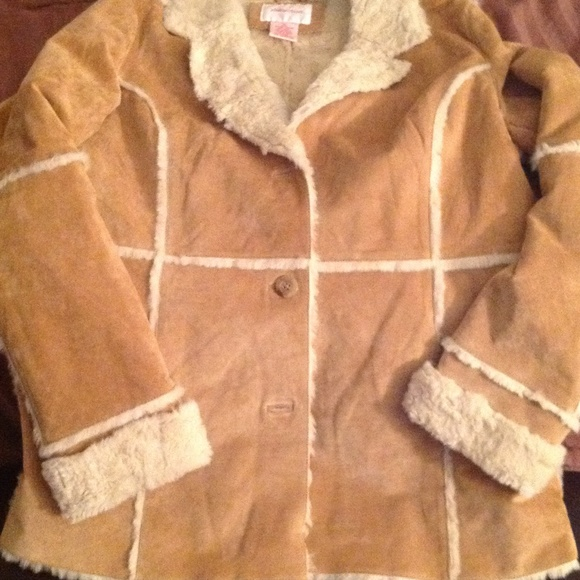 Xhilaration - Tan leather/suede jacket w/ faux fur lining from ...