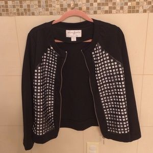 Black jacket with faux leather detail
