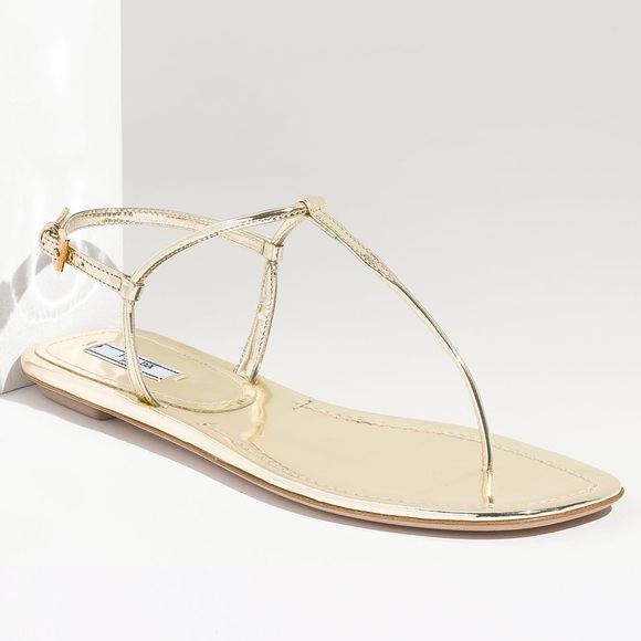 5797ef50ae3f Prada Gold Metallic Leather Thong Sandal 🎀. M 5608a3d68e1c61729b01134f