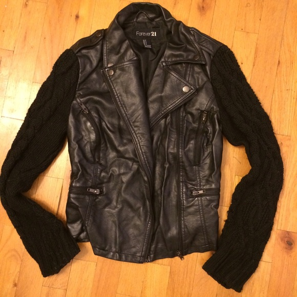 67% off Zara Jackets & Blazers - leather motorcycle jacket w knit sleeves...