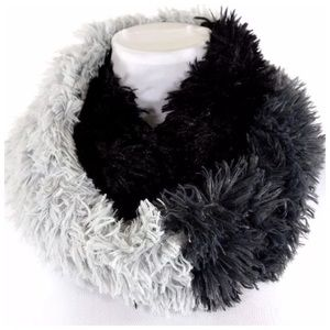 B98 Black Gray Super Soft Fluffy Infinity Scarf