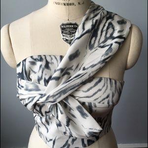 Printed Bow Detail Crop Top
