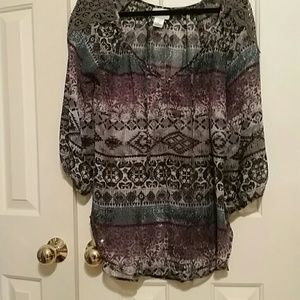 Lace shoulder Shyanne blouse purple blue and grey