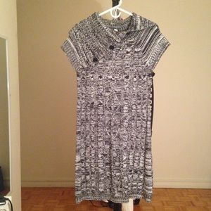 Dresses & Skirts - Cute Grey Sweater Tunic with Asymmetric Collar