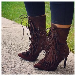 Shoe Dazzle Shoes - Fringe Brown Suede Lace-Up Booties
