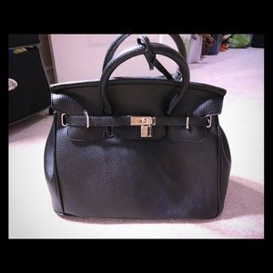Ami Clubwear Handbags - Black (Birkin Like) Purse with Front Lock