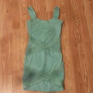 Turquoise short bodycon dress