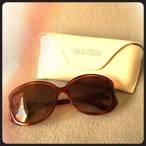Brown Pavé Trim Retro Valentino Sunglasses