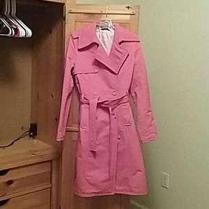 Coral belted trench coat