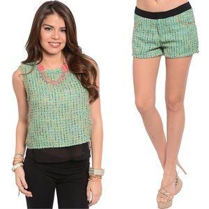 Mint Tweed Top & Shorts Set