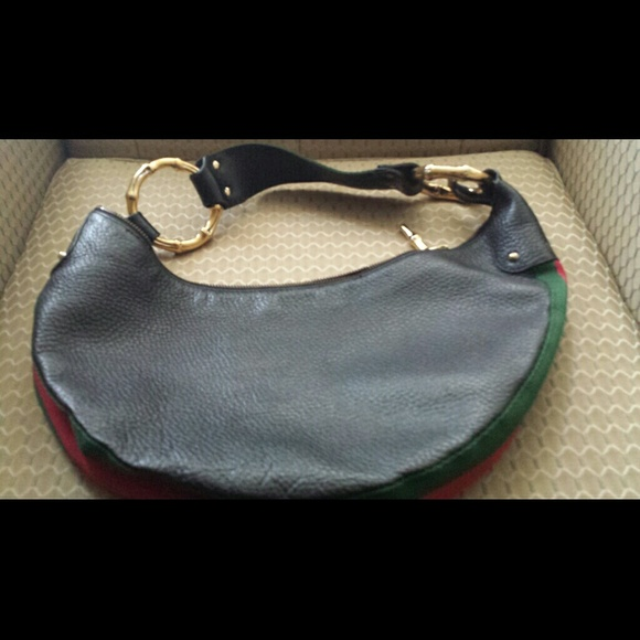 960e6ce258741 Gucci hobo Black Leather Gold Bamboo Ring