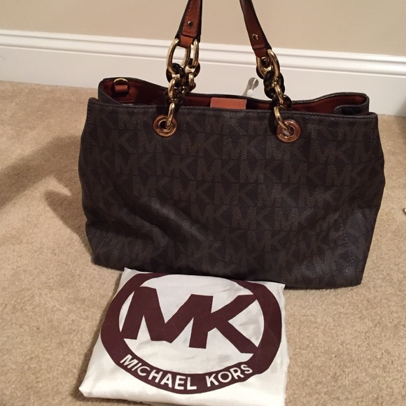 Large Cynthia Michael Monogram Brown Kors Handbag hrtsQCdx