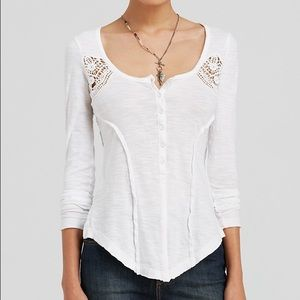 Free People White Henley Top NWT