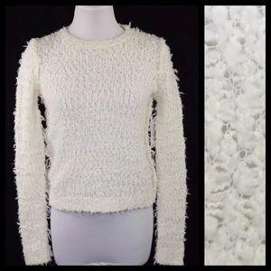 Free People Ivory Long Knit Fuzzy Sweater XS