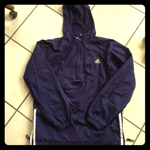 reliable quality sold worldwide entire collection Adidas windbreaker half zip, lightweight with hood