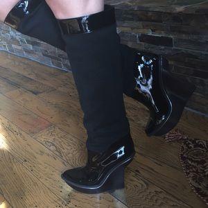 Stella McCartney Shoes - Stella McCartney Black leather platform wedge 71/2