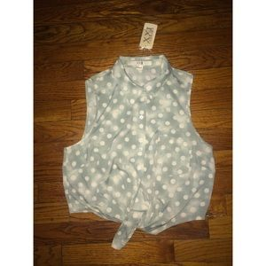  Green & White Polka Dot Tie-up Crop Top