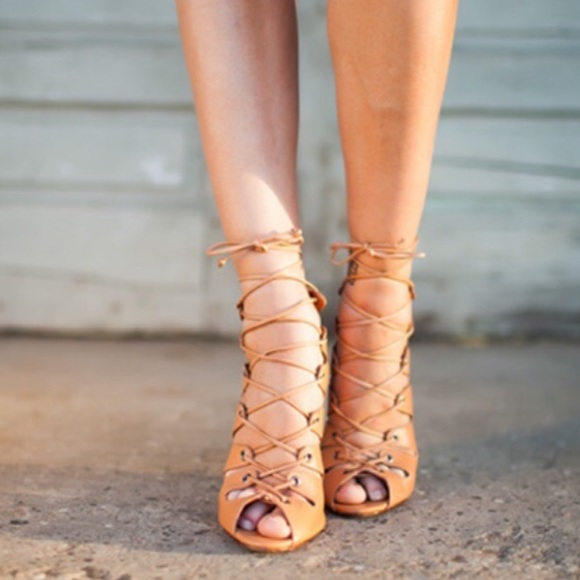 69% off SCHUTZ Shoes - Schutz slate nude lace up strappy heels ...