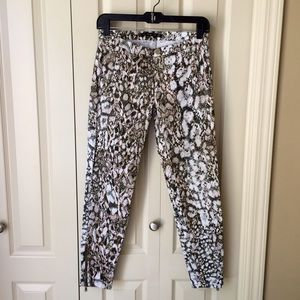 Zara snake print cotton pants with zip ankle.