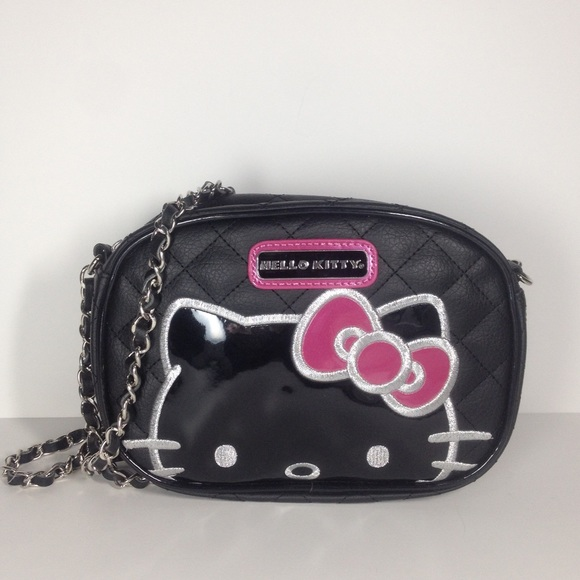 4c40ca1f541e Hello Kitty Black Quilted Chain Crossbody Purse. M 5609a53f291a35e91e002794