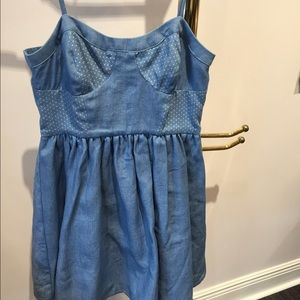 Chambray blue short sun dress