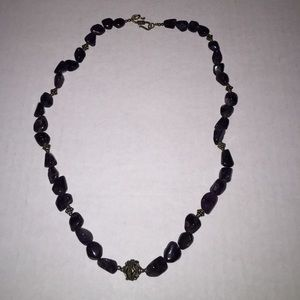 """Jewelry - Large amethyst stones necklace. 20""""with 100+ ctw"""