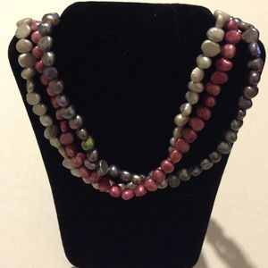 """Jewelry - 3 strands of pearls, gray, silver, & red 16""""-18""""lg"""