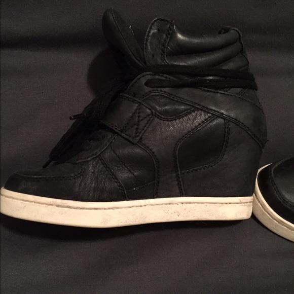 342e02afdd22 Ash Shoes - Black leather Ash sneaker wedges