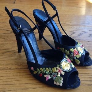 Moschino Floral Embroidered Heels