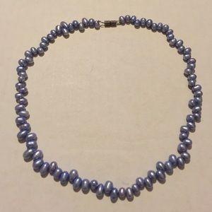 "Jewelry - 16"" oval tanzanite colored pearl necklace"