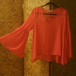 Tobi Bell Sleeve Red Top