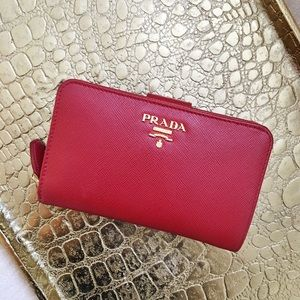 Prada Handbags - Prada Red Bi-fold Wallet