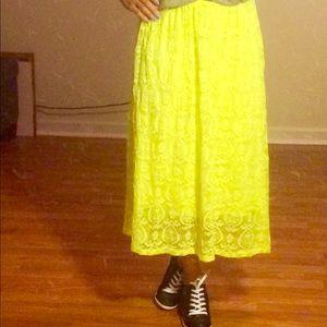 Neon lace midi skirt ASOS