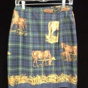 Dresses & Skirts - SUSAN BRISTOL. Equestrian wrap skirt HORSES! SZ 8