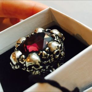 Skulls & WildIvy Burgundy Swarovski Crystal Ring 7