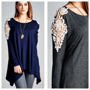 JUST IN✨Lace Patch Long Sleeve Tunic {navy}
