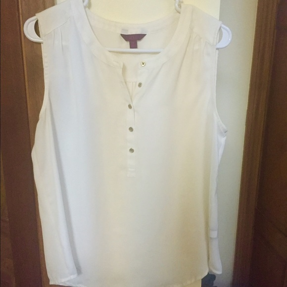 212 Tops - White Sleeveless Blouse