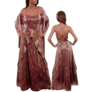 Copper Formal Wedding Dress. Gold Leaf print. Long