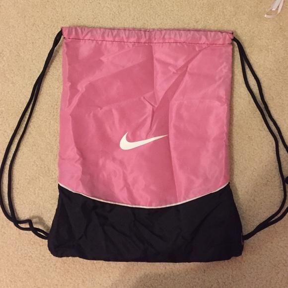 70% off Nike Handbags - NIKE: Pink/ Black Drawstring Bag from ...