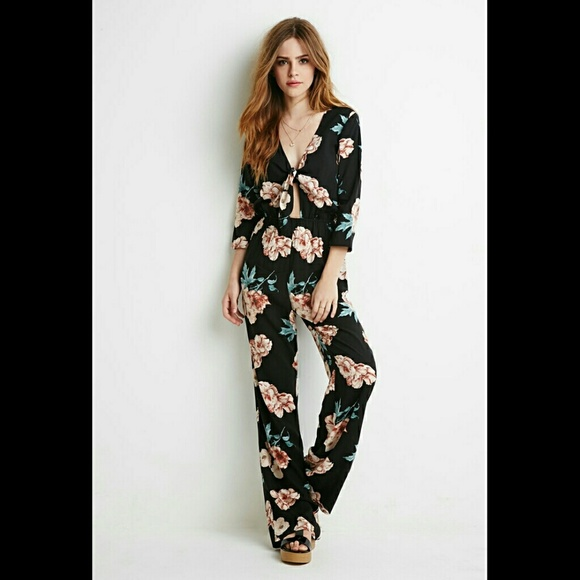 39f5d6867ebc Forever 21 Pants - Self-Tie Knotted Floral Jumpsuit