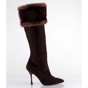 Shoes - BiColor MINK CUFF KNEE HIGH BOOTS