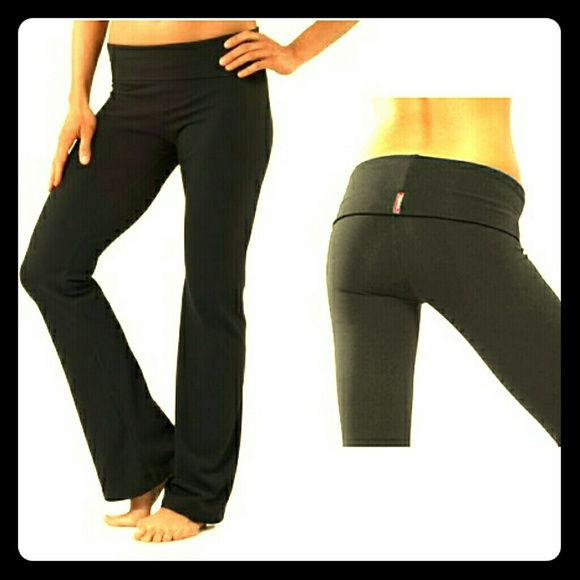 bbba325d30d9e Hard Tail Pants - HARD TAIL Roll Down Boot Leg Yoga Pants